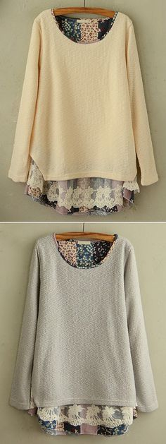 Elegant Floral Lace Stitching Round Neck Knit Blouse For Women