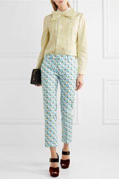 Prada - Bow-embellished Ruffled Striped Cotton Shirt - Pastel yellow - IT44