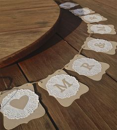 Mr and Mrs banner - doilies This is an easy decoration to DIY. Are you thinking of getting crafty?