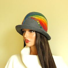 Grey hat felted  rainbow hat grey gray cloche hat by ZiemskaArt, $119.00