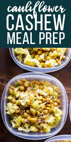 Makethese cauliflower cashew meal prep bowls ahead of time and have work lunches ready for the week: Roasted cauliflower, toasted cashews, barley and chickpeas are all tossed in a delicious honey-ginger vinaigrette! Vegetarian and easily made vegan. #sweetpeasandsaffron #mealprep #salad #cauliflower #vegetarian #vegan  via @sweetpeasaffron