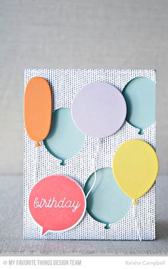 Big Birthday Balloons Die-namics, Birthday Speech Bubble Stamp Set and Die-namics, Scattered Surface Background - Keisha Campbell  #mftstamps