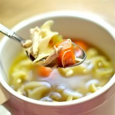 Chef John's Homemade Chicken Noodle S... Recipe - This soul-warming soup is deliciously simple--just chicken and noodles. What makes it so good is the homemade roasted chicken stock.