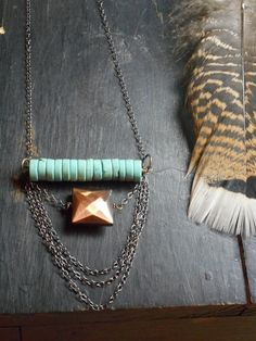EARTH SPIRIT Boho Rustic Tribal Geometric Tiered Earthy Necklace Turquoise Howlite Bib coin beads, distressed copper & chain layers necklace on Etsy, $33.00