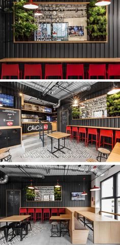 We often see corrugated steel being used on the exterior of houses, but as part of the design for this restaurant, black corrugated steel was brought inside, and used on the interior walls of this burger restaurant. #restaurantdesign