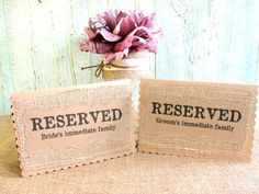RESERVED Wedding Table Cards SET of 4 Place Holder, Burlap Kraft Rustic Country Woodland, Custom Font and Color. $16.00, via Etsy.