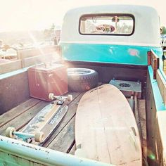 Summer time blue and white pickup truck with surfboard and skateboard. ⚓️✦ Bella Montreal ✦⚓️