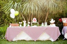 the dessert table for this farm themed party