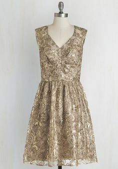 8fe22ca1b113e2 Twinkling at Twilight Dress in Champagne - Gold, Tan / Cream, Sequins,  Cocktail