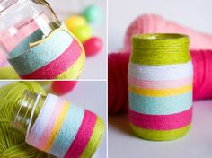 DIY Easter Vases wrapped in yarn