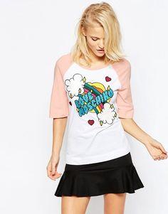 Love Moschino – Besticktes Regenbogen-Baseball-T-Shirt