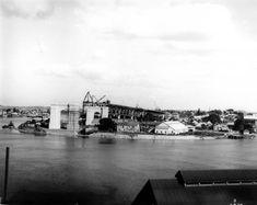 Brisbane River, Brisbane Queensland, Brisbane City, Cantilever Bridge, Bridge Construction, New Farm, Queenslander, Aerial View, Old Photos