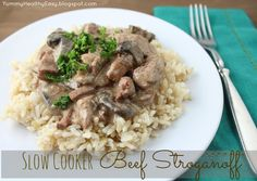 Slow Cooker Beef Stroganoff - easy & delicious dinner! {Yummy. Healthy. Easy.} #slowcooker #beef #recipe