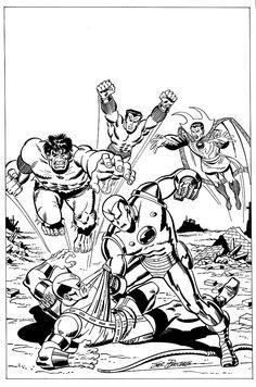 The Defenders vs Iron Man by Sal Buscema Comic Book Artists, Comic Book Characters, Comic Book Heroes, Comic Artist, Marvel Characters, Comic Books Art, Comic Character, Marvel Comic Universe, Marvel Comics Art