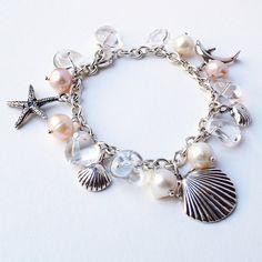 Beach Bracelet. Crystals, Seashells, Pearls, Sterling Silver. Beach themed wedding bracelet.