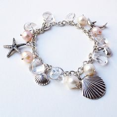 Beach wedding Bracelet. Of course I would have to adorn myself with this seashell bracelet from my collection for my very own beach themed wedding.