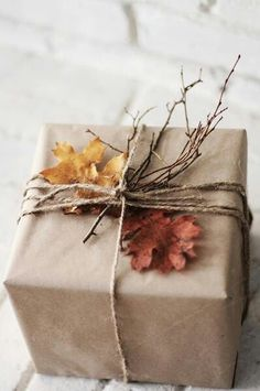 DIY Fall wrapping: Perfect for a Thanksgiving gift!