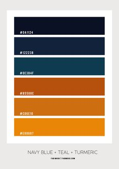 Navy Blue and Turmeric Living Room Navy Bedrooms, Navy Blue Living Room, Blue Rooms, Orange Color Palettes, Blue Colour Palette, Color Azul, Blue And Mustard Living Room, Burnt Orange Living Room, Navy Blue Houses