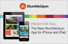 StumbleUpon - clear delineation between logo and copy, fun color object