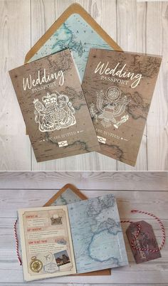 42 Best of Travel Wedding Invitations - Wedding Passport - Wedding Inspiration - Hochzeit Passport Wedding Invitations, Vintage Wedding Invitations, Diy Invitations, Wedding Invitation Wording, Invitation Cards, Invitation Templates, Shower Invitation, Vintage Travel Wedding, Travel Wedding Gifts