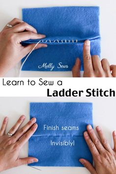 Sewing Techniques How to sew a ladder stitch - close a seam invisibly - aka slip stitch, blind stitch or invisible stitch instructions - How to sew a ladder stitch - close a seam invisibly - aka slip stitch, blind stitch or invisible stitch instructions Sewing Hacks, Sewing Tutorials, Sewing Crafts, Sewing Tips, Sewing Art, Sewing Basics, Sewing Ideas, Invisible Stitch, Point Invisible