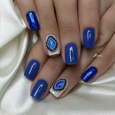 Nails, blue, beaded - Beautiful nails 2016, , Bright- blue nails, Evening dress nails