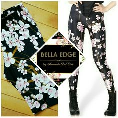 Japanese cherry blossom leggings Japan's national flower, beautiful and delicate cherry blossoms over contrasting black. These leggings are so feminine. Size Medium and Large. Bella Edge Boutique  Pants Leggings