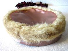 Vison de boîte pilule de Vintage ladies Satin vison Pill Box Hat Mesdames chapeau chapeau de temps thé Vintage Shersvintagefinds