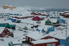 Village in snowy Greenland.