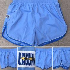 Vintage LAGUNA Swim Trunks 70s 80s Made In USA M 32-36 Light Blue Short Shorts | eBay