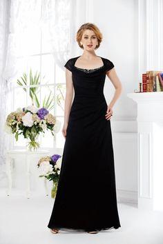 Modern Square Floor Length Black Chiffon Mother Of The Bride Dress Šaty Pro  Družičky 73328f28e0