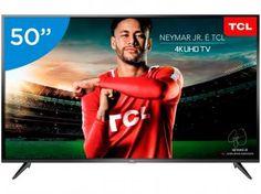 """Smart TV 4K LED 50"""" TCL P65US Wi-Fi HDR - 3 HDMI 2 USB - Magazine Arapuan Tv Led 50, Tv 32, Usb, Tv Oled, Samsung 4k, Google Chromecast, Dvd Player, Led Apple, Products"""