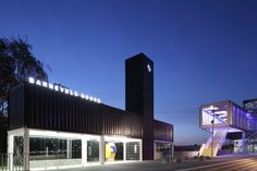 Barneveld Noord railway station had formation of shipping containers by NL Architects Container Architecture, Container Buildings, Container Houses, Cargo Home, Holland, Temporary Structures, Shipping Container Homes, Shipping Containers, Bus Station