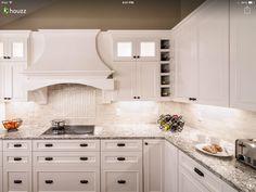 White cabinets, gray granite