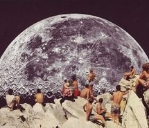 Inspiring picture beach, collage, moon, people, space, watching. Resolution: 500x379 px. Find the picture to your taste!