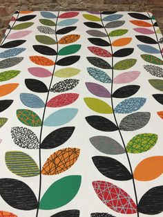 Tablecloth with colorful stylized striped leaves by SiKriDream