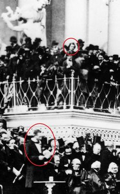 A closeup of a photo taken at Abraham Lincoln's second Inauguration (March 4, 1865). Amongst the on-lookers was John Wilkes Booth, the man who would kill Lincoln just over one month later. Each man is circled.