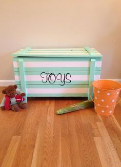 """Old toy chest painted """"toys"""" - etsy Painted Toy Chest, Wooden Toy Chest, Wooden Toy Boxes, Painting Kids Furniture, Painting For Kids, Personalised Wooden Toy Box, Woodworking Tools For Sale, Woodworking Garage, Youtube Woodworking"""