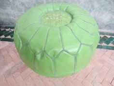 Pale green pouf