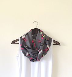 Hot Pink Hummingbirds Patterned Infinity Scarf by designscope