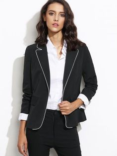 Black Contrast Piping One Button Blazer With Flap Pocket