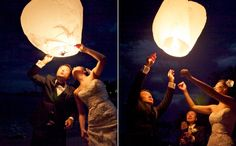 Launching a lantern as part of a Maui wedding ceremony.