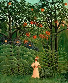 Henri J.F. Rousseau - Femme se promenant dans un foret exotique