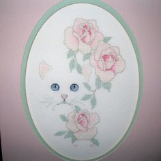 Completed Harrison White Cat & Flowers Cross Stitch on Evenweave Matted Roses http://stores.ebay.com/myeclecticmercantile?_dmd=1&_nkw=completed
