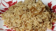 Onion rice- so good! I subbed the French onion soup for a packet of onion soup mix and 1 cup of water. I also cooked in less time. Turned out perfect!