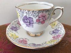"Antique ""Sweet Pea"" Tea Cup & Saucer - ENGLAND"
