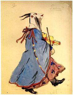 Costume design by Alexandre Benois for Petrushka, 1911