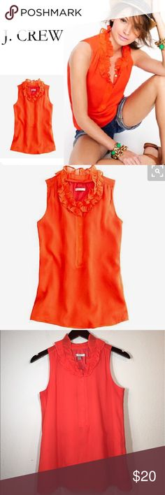 J. Crew Silk Naomi Top ✔️100% Silk ✔️Lined ✔️Sleeveless ✔️Ruffle Collar ✔️Covered Buttons J. Crew Tops