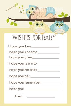 Blue Owl Wishes For Baby Card- Well Wishes Boy Babyshower Games- Wood Digital…
