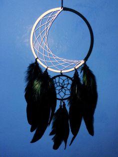 Moon illusion large double dream catcher, white web and black web, black feathers - 15cm diameter dreamcatcher hand made